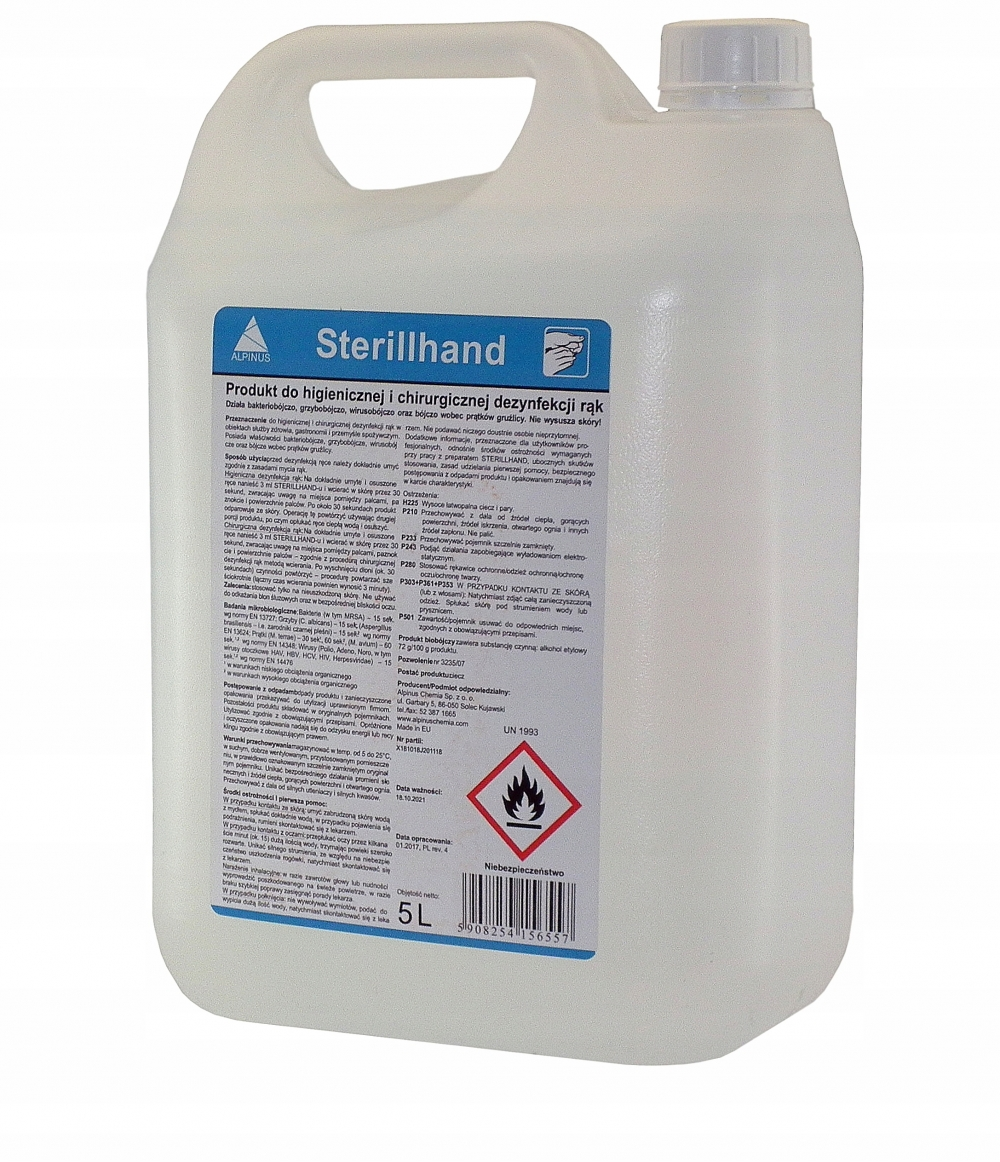STERILLHAND PRODUCT FOR HYGIENE AND SURGICAL DISINFECTION OF BAKTERIO-VIRUS HANDS NAILS 5L