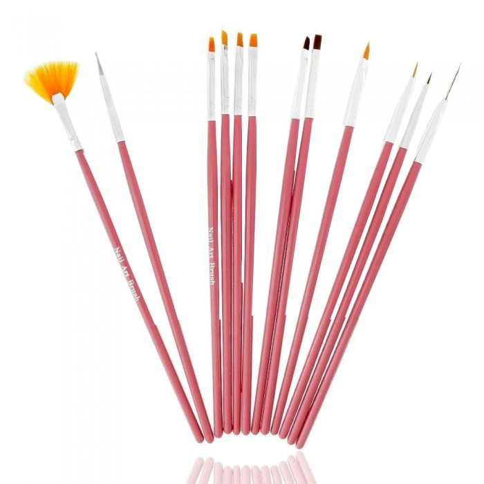 ABA GROUP SET OF 12 BRUSHES FOR GEL, ACRYLIC AND DECORATIVE BRUSHES - WOODEN