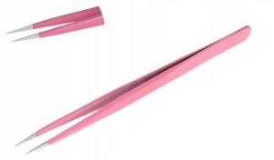 ABA GROUP EYELASH TWEEZERS STRAIGHT PINK