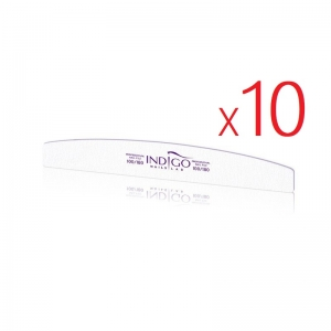 INDIGO NAIL FILE MYLAR HALF MOON 100/180 - SET 10pcs